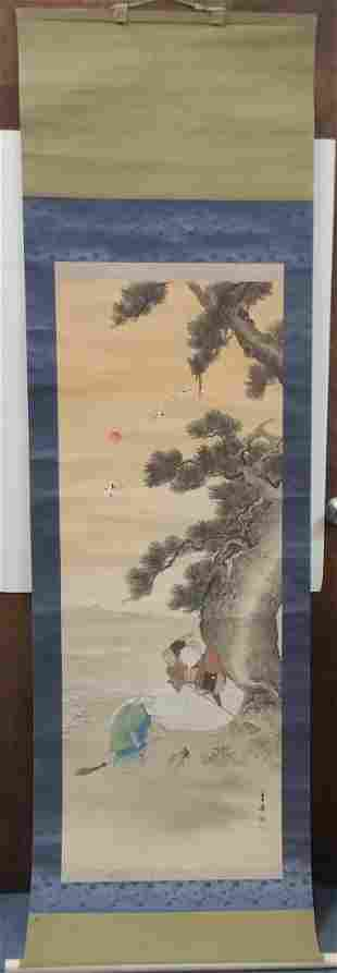 Signed Stamped 52x19 Chinese Scroll Antique