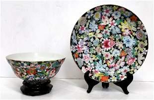2pc Chinese Republic Famille Noire Porcelain Plate Bowl