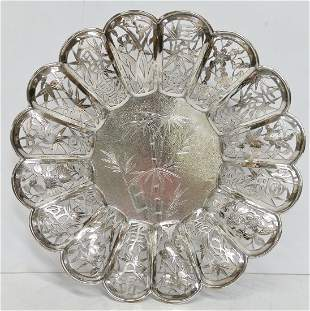 Chinese Sterling Silver ReticulatedFooted Serving Tray