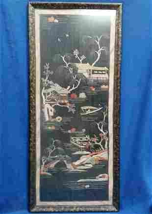 Vintage Chinese Japanese Embroidery Wall Hanging Garden