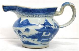 Antique Canton Chinese Qing Pitcher Blue White Porcelai