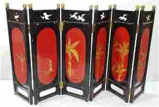 Vintage Antique Chinese Japanese 6 Panel Screen Gilt La