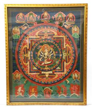Antique Tibetian Thangka Chinese Indian Hindu Painting