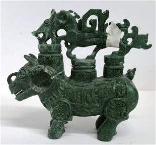 Large Heavy Carved Chinese Jade Water Buffalo Horse
