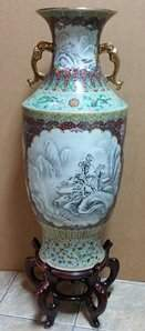 Huge Vintage Chinese Republic Famille Rose Jaune Vase