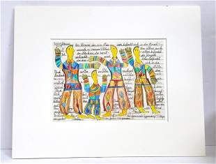 Johann Fischer Der Kleinere Yellow Figures Pencil Work
