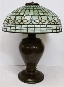 Antique Tiffany Studios Leaded Glass Bronze Base Lamp
