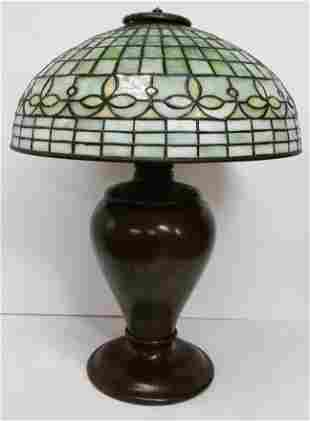 Antique Tiffany Studios Leaded Glass Bronze Base Lamp