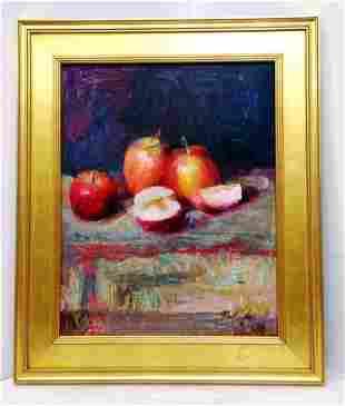 American School Late 20C John Clayton Apples Painting