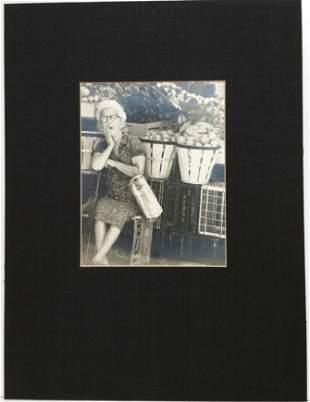 Vintage Black and White Photograph Elderly Woman Fruit
