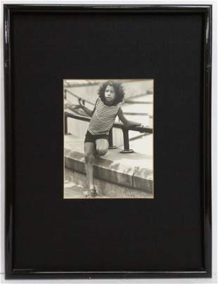 Vintage Black & White Photograph Young Girl Curly Hair