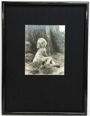 Vintage Black and White Photograph Young Blonde Girl