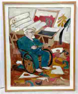 Red Grooms Portrait Of Matisse Gouache Painting