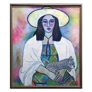 Fauvist Style Girl With Cat Large Oil Painting