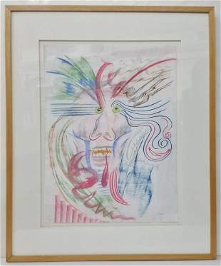 Large Crayon on Paper Abstract Portrait of a Man