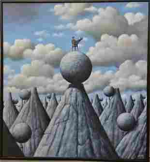 Rafal Olbinski Polish Surrealist Painting with COA
