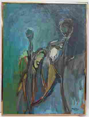 Abstract Mary Anne Jenkins 1963 Vintage Oil Painting