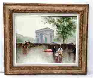 Andre Gisson Oil Painting Paris Street Scene Arc