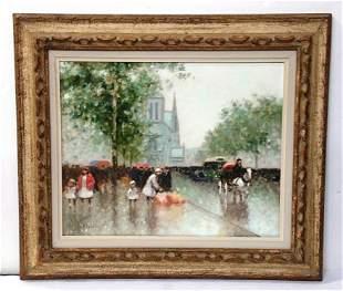Andre Gisson Oil Painting Paris Street Scene Notre Dame
