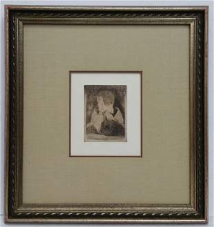Old Edgar Degas Heliogravure Etching Sister Portrait