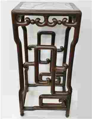Antique Chinese Qing Marble Carved Hardwood Plant Stand