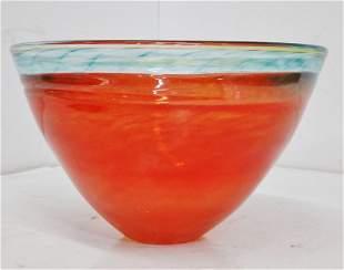 Large Signed Studio Art Glass 10.5in x 7in Orange Bowl