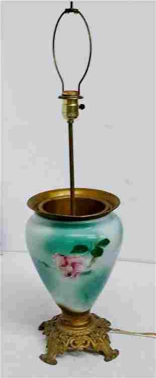 Antique Limoges Type HP Floral Porcelain Vase Lamp