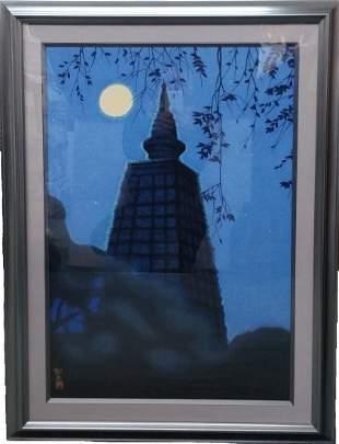 Japanese Ikuo Hirayama Limited Ed Tapestry Bodh Gaya