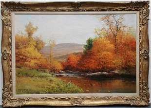Robert Wood Painting In The Catskills Oil Landscape