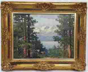 Robert Wood Painting Mountain Landscape Oil