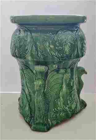 Lg Antique Figural Eagle Victorian Majolica Plant Stand