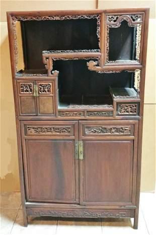Ex Museum Chinese Qing Hardwood Cabinet Étagère Antique