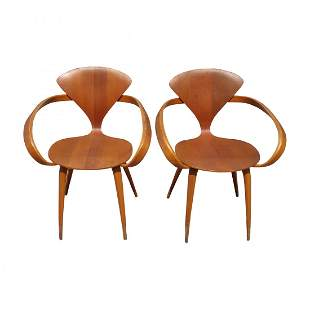 Pair Norman Cherner Plycraft Signed Bentwood Arm Chairs