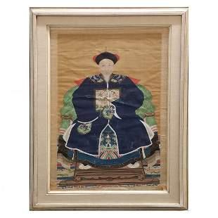 Antique Chinese Qing Silk Emperor Ancestor Portrait