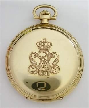 Heavy 14k Gold Lange Oliw Hunter Case Pocket Watch
