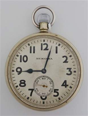 Huge Seikosha Deck Open Face Pocket Watch WWII
