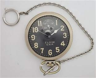 Elgin USA Military Pocket Watch With Chain Running