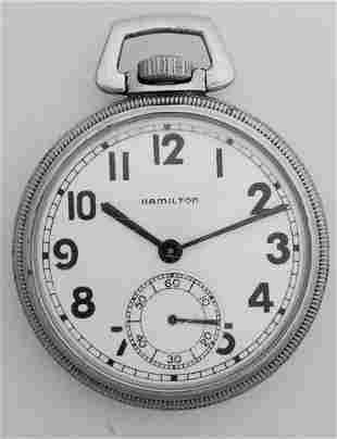 Hamilton 2974B Comparing Pocket Watch SF Naval Station
