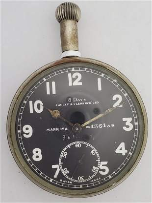 Doxa 8 Day Movt Carley + Clemence WWI RFC Pocket Watch