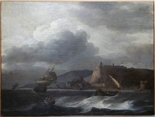 Lg Aernout Smit Dutch Old Master Seascape Oil Painting