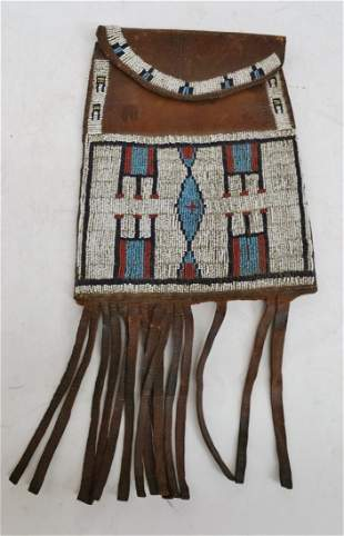 Antique Native American Beaded Plains Pouch MP 1885