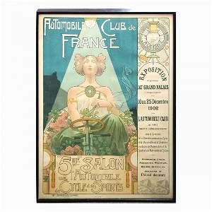 Large Privat-Livemont Salon Automobile Poster w Papers