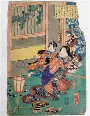 Utagawa Kuniyoshi 1840s Woodblock Print Ukiyo-e Woman