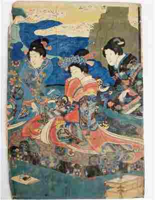 1851 Utagawa Kuniyoshi Prince Genji Triptych Woodblock