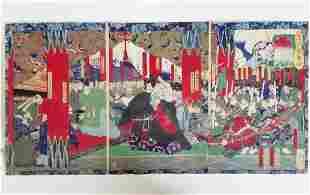 1869 Yoshitoshi Woodblock Print Tryptic Hideyoshi