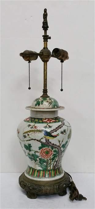 Antique Chinese Famille Verte Ginger Jar Lamp