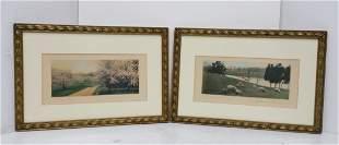 Lot 2 Wallace Nutting Color Prints Signed Landscapes