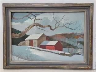 Barn Mountain Landscape InspiredBy Eric Sloane Painting