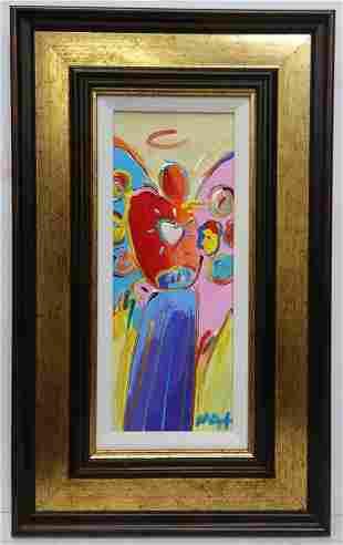 Original Peter Max Acrylic Painting Angel Heart COA