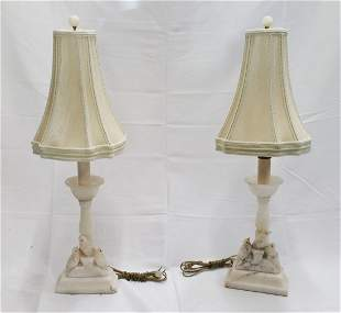 Pair Antique Italian Carved Alabaster Bird Table Lamps